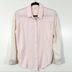 Free People Button Front S Pink Stripe Split Back